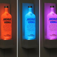 Absolut Vodka Wall Mount Color Changing LED Remote Control Eco Friendly rgb LED Bottle Lamp/Bar Light - Sconce -Bodacious Bottles-