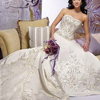 [394.75] Stunning Satin A-line Sweetheart Neckline Wedding Dress - Dressilyme.com