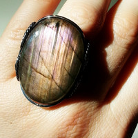 Pink Labradorite Ring, Statement Ring, Natural Peach, Large Stone, Flashy, Sterling Silver, Handmade, Spring Summer Color