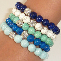 NewBeaded Semiprecious Gemstone Bracelet with SILVER by rockstarsz