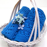SPA Dish Wash Cloth 'Royal Blue Eyelet Lace' by JanetLongArts