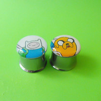 Adventure Time picture plugs gauges embedded by NerdalieCreates