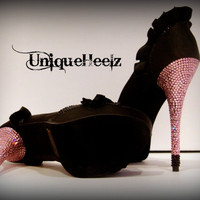Swarovski Crystal  Black Ruffle Open Toe Platform by UniqueHeelz