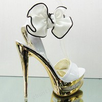 Fashion Crystal white Bowknot Stiletto Heels Platform Peep Toe Sandals  CS235
