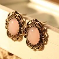 Vintage Hollowed-out Pattern&amp;Gem Stud Earrings at Online Jewelry Store Gofavor