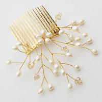 Gold Wedding Hair Comb Bridal Pearl Hair by jewellerymadebyme