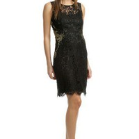 Elie Tahari Gold Infused Lace Sheath