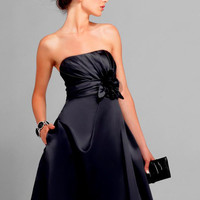 Black Strapless Neckline A-line Satin Knee Length Cocktail Dress -SinoSpecial.com