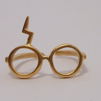 Harry Potter ring Lightning glassesSteling silver by thinkupjewel