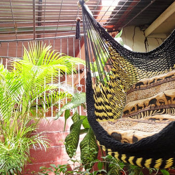 Black and Yellow Bulico Sitting Hammock, Hanging Chair Natural Cotton and Wood