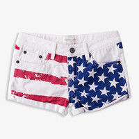Cuffed American Flag Denim Shorts | FOREVER 21 - 2036809285