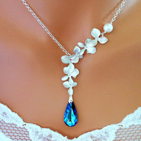 Wedding Necklace, Bridal Necklace, BERMUDA BLUE PEACOCK ORCHIDs - Wedding Jewelry | Handmade
