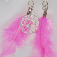 Hot pink feather dream catcher earrings by MeredithsLittleShop
