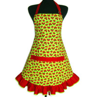 Retro Strawberry Apron, Green with Red Ruffle , Adjustable