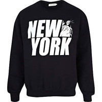 Black New York statue print sweatshirt