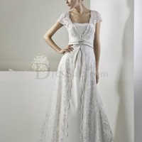 Elegant A-line Lace Wedding Dress with Short Sleeves, Wedding Dresses - dressale.com
