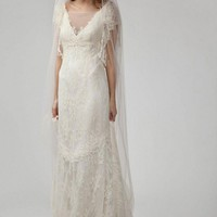 Cheap Delicate Lace Empire V-neck Short-Sleeve Floor-length Wedding Dress - Beautiful Wedding Dresses Wholesale and retail Online