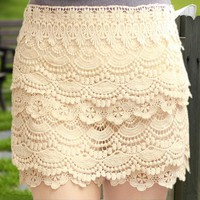 Sweet Lace Cake Mini Skirts from FUNKISS