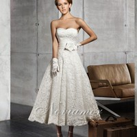Cheap Exquisite Tea Length Lace Wedding Dress With Satin Sash AW1842 On Sale - Noviamor AU Store