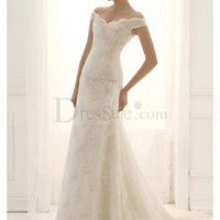 Fresh Classic Off-the-shoulder Celebrity Wedding Style, Wedding Dresses - dressale.com