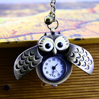 Necklace,Owl  necklace, pocket watch necklace,Antique bronze necklace,Vintage necklace
