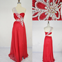 Cheap New Style 2013 One Shoulder Sweetheart with Beading Chiffon Long Red Prom Dresses Evening dresses party dresses