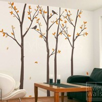 Forest Autumn Trees with Birds 100 inches with GIFT Set of 12 FLYING BIRDS  - Vinyl Wall Decal