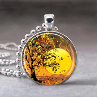 Autumn Tree Under the Sunset,  Altered Art Pendant, Photo Pendant, Glass Dome Pendant with Ball Chain - no. 084-23