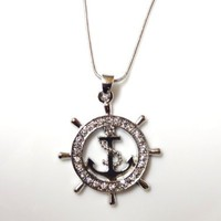 Nautical Ship Wheel and Anchor Charm Pendant and Necklace Rhodium Plated Gift Boxed Fashion Jewelry: Jewelry