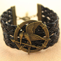 hunger games bracelet--bird bracelet,antique bronze charm bracelet,black braid leather bracelet,friendship gift,MORE COLORS
