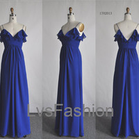 A Line Straps Long Chiffon Royal Blue Bridesmaid Dresses, Wedding Party Dresses, Prom Dresses, Evening Dresses.