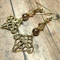 Gold Filigree and Swarovski Crystal Golden Shadow Gold Earrings