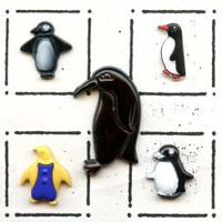 Penguin buttons glass and plastic
