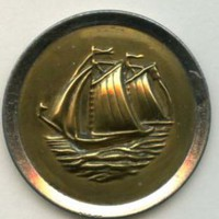 Sailing Vessel  brass large antique button
