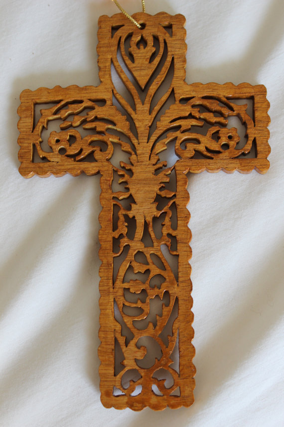 Scroll saw wood carved hanging cross by from p pministry