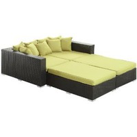 LexMod Palisades Outdoor Wicker Patio Daybed 4-Piece Furniture Set