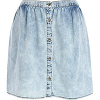 Blue acid wash button through mini skirt