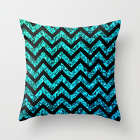 Chevron Aqua Sparkle Throw Pillow by M Studio (NOT REAL GLITTER)