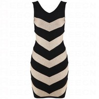 Bqueen Vida Metallic Chevron-Stripe Dress H284E