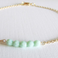 Dainty Mint Beaded Gold Bracelet, 16kt Gold plated Bracelet, Gift for Her, Item B-64G
