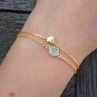 Gold Heart Charm Bracelet  Dainty Gold Bracelet by cocolocca