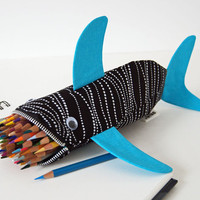 Shark Bag Zipper Pencil Case High Tide Shark Bite by minnebites