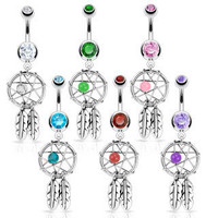 1 CZ Dream Catcher Dangle Belly Naval Ring 14g Gauge Surgical Steel