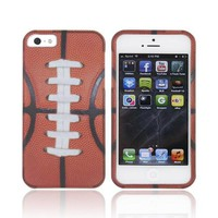 Apple iPhone 5 Rubberized Hard Case - Silver/ Brown Football