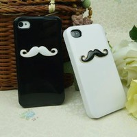 Two pieces 3D Chaplin mustache Case Cover Shell For iPhone 4 4S 4GS lovers & couple HZ: Cell Phones & Accessories