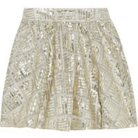 Alice + Olivia Jaylyn metallic mesh mini skirt  60% at THE OUTNET.COM