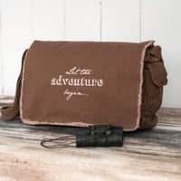 Messenger Bag - Let the Adventure Begin... - School Bag - Java Brown - Canvas Bag