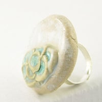ring adjustable aqua milky white and olive by PiaBarileJewelry