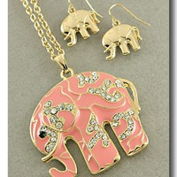 Pretty Pink Elephant Necklace