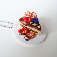 CAKE NECKLACE  chocolate cake on a plate by FrozenNote on Etsy